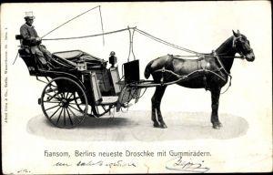 Ak Berlins neueste Droschke mit Gummirädern, Hansom, Kutscher, Pferd