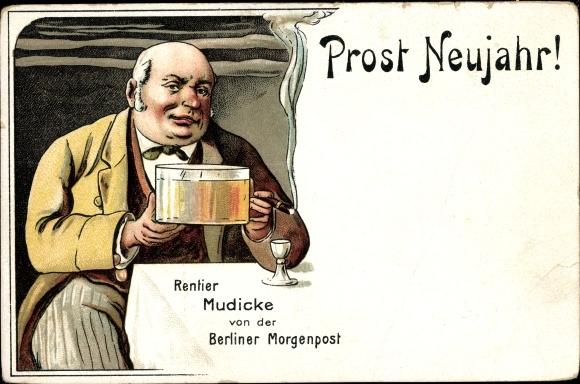 Litho Glückwunsch Neujahr, Rentier Mudicke von der Berliner Morgenpost, Bier