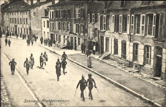 Ak Stenay Lothringen Meuse, Kronprinzenstraße, Kronprinz Wilhelm von Preußen