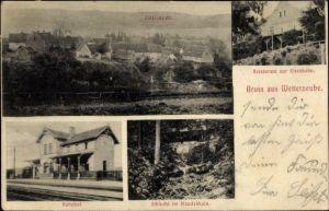 Ak Wetterzeube in Sachsen Anhalt, Bahnhof, Restaurant zur Eisenbahn, Schlucht im Staudenhain