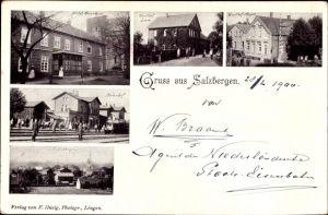 Ak Salzbergen in Niedersachsen, Bahnhof, Hotel Overhuis, Gasthof Meyer, Panorama vom Ort