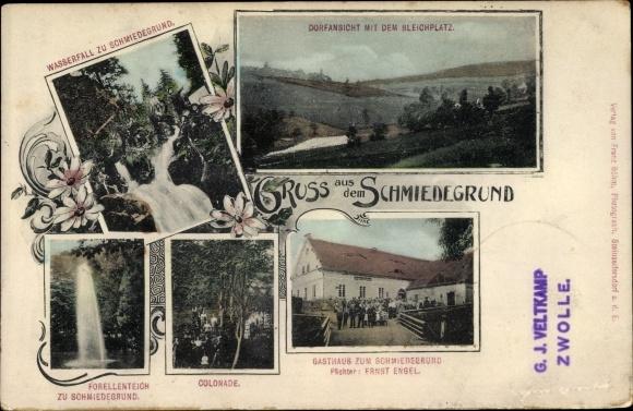 Ak Bad Sassendorf im Kreis Soest, Dorfansicht mit Bleichplatz, Wasserfall, Gasthaus Ernst Engel