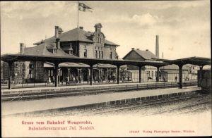 Ak Wengerohr Wittlich Rheinland Pfalz, Bahnhof v. der Gleisseite, Bahnhofsrestaurant v. Jul. Neuleib