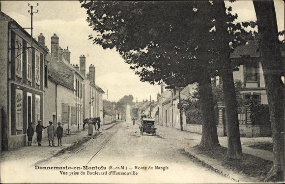 Ak Donnemarie en Montois Seine et Marne, Route de Nangis, Vue prise du Boulevard d'Haussonville