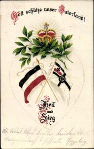 Präge Ak Gott schütze unser Vaterland, Heil und Sieg, Fahnen, Krone, Lorbeerblätter
