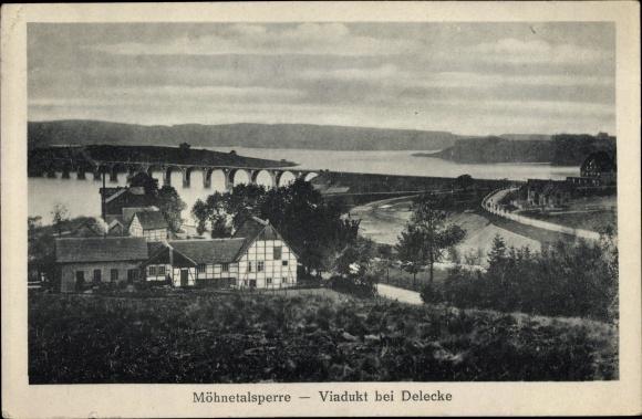 Ak Delecke Möhnesee im Kreis Soest Nordrhein Westfalen, Möhnetalsperre, Viadukt, Landhaus