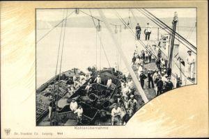 Passepartout Ak Deutsches Kriegsschiff, Kohlenübernahme, Kriegsschiff