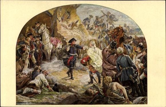 Künstler Ak Jansen, P., Schlacht b. Torgau 1760, König Friedrich II. v. Preußen, Friedrich der Große