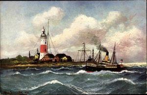 Künstler Ak Leuchtturm an der Kieler Föhrde, Dampfer