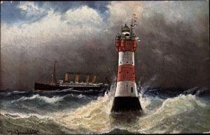 Künstler Ak Roter Sand Leuchtturm, stürmische See, Dampfer
