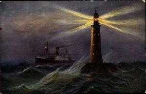 Künstler Ak Leuchtturm, Firth of Forth, Nachtbeleuchtung, Leuchtkegel, Dampfer