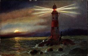 Künstler Ak Leuchtturm Eddystone im englischen Kanal, Leuchtkegel, Sonnenuntergang