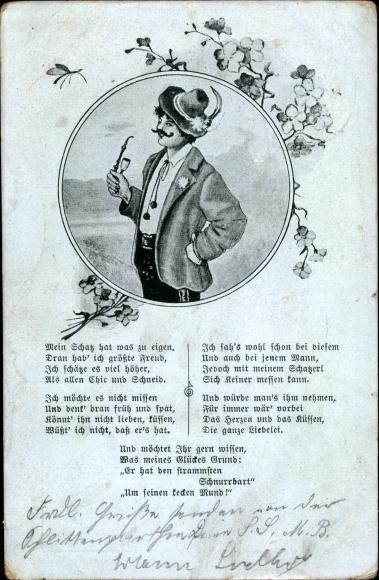 Lied Ak Schnurrbart Lied, Mann in bayerischer Tracht und Schnurrbart, Portrait