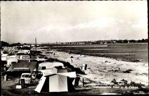 Ak Neukirchen Ostholstein, Campingplatz Sütel, Strandpartie, Campingwagen, Zelte, Fiat 500
