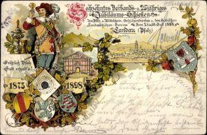 Wappen Litho Landau in der Pfalz, 16. Verbands- und 25jh. Jubiläumsschießen 1898
