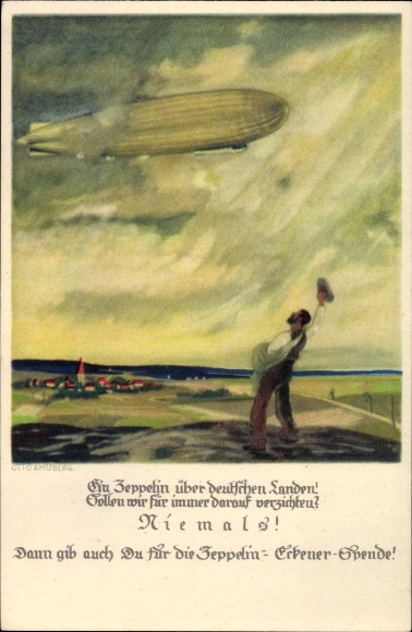 Künstler Ak Amtsberg, Otto, Ein Zeppelin über deutschen Landen, Eckener Spende