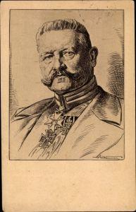 Künstler Ak Brockmüller, Paul, Generalfeldmarschall Paul von Hindenburg, Portrait