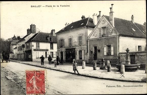 Ak Baillon Val d'Oise, Place de la Fontaine