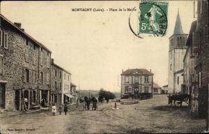 Ak Montagny Loire, Place de la Mairie, eglise