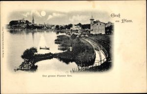 Mondschein Ak Plön in Schleswig Holstein, Blick auf den Ort, Großer Plöner See