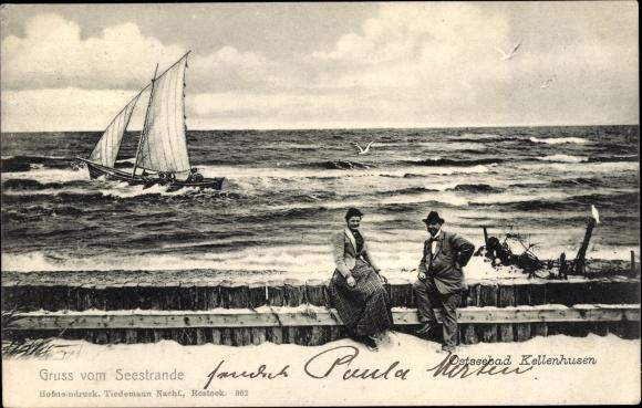 Ak Kellenhusen an der Ostsee, Seestrand, Segelschiff auf dem Wasser