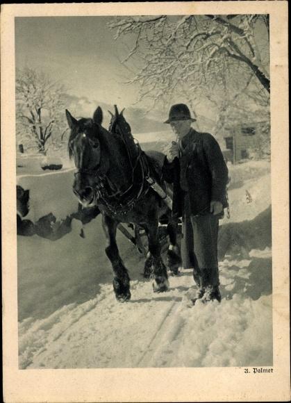 Ak Landwirt mit einem Arbeitspferd, Pferdeschlitten