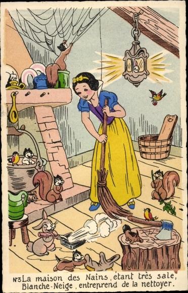 Künstler Ak Walt Disney, Schneewittchen und die sieben Zwerge, Eichhörnchen, Hasen
