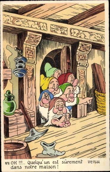 Künstler Ak Walt Disney, Schneewittchen und die sieben Zwerge