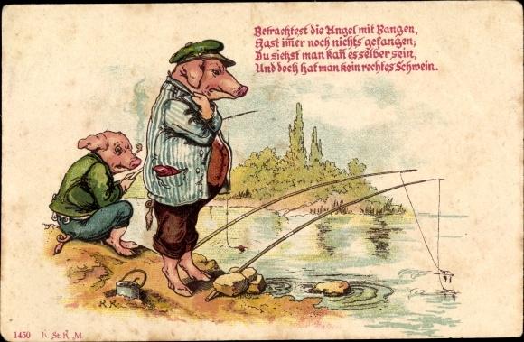 Vorläufer Litho Vermenschlichte Schweine beim Angeln, Betrachtest die Angel mit Bangen