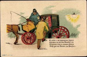 Vorläufer Litho Es solle recht behutsam fahren, Kutsche, Liebespaar