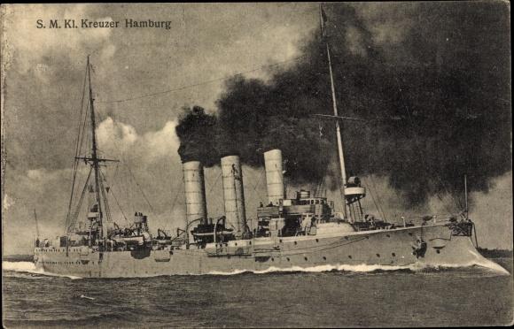 Ak Deutsches Kriegsschiff, SMS Hamburg, Kleiner Kreuzer, Kaiserliche Marine