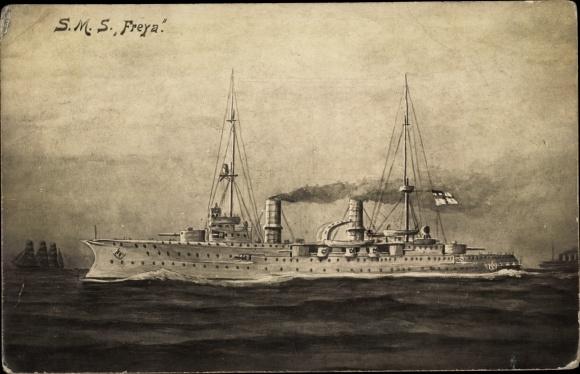 Künstler Ak Deutsches Kriegsschiff, SMS Freya, Kaiserliche Marine
