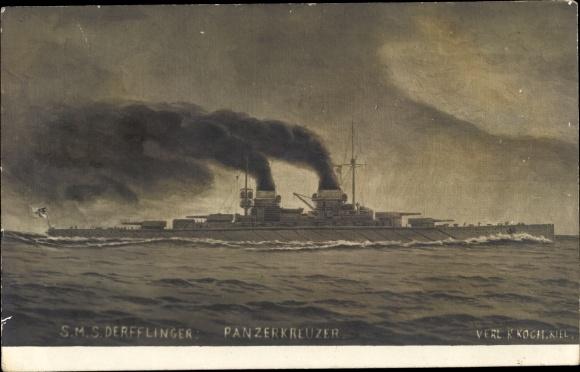 Künstler Ak Deutsches Kriegsschiff, SMS Derfflinger, Panzerkreuzer, Kaiserliche Marine