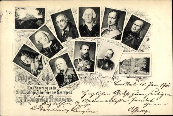 Ak 200jh Jubelfeier des Bestehens des Königreichs Preußen 1901, Könige, Kaiser