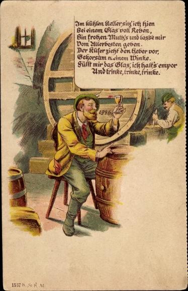 Vorläufer Litho Im kühlen Keller sitz' ich hien bei einem Glas von Reben, Weinkeller