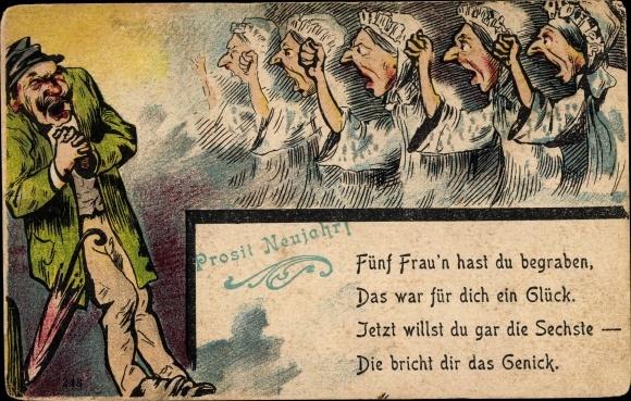Litho Glückwunsch Neujahr, Fünf Frau'n hast du begraben, Mann, wütende Frauen