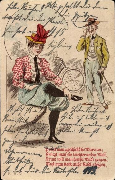 Litho Preist man geschickt die Ware an, Frau, Mann, Fahrrad