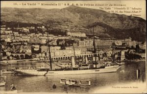 Ak Monte Carlo Monaco, Le Yacht Hirondelle II à SAS le Prince Albert Premier, Wasserflugzeug
