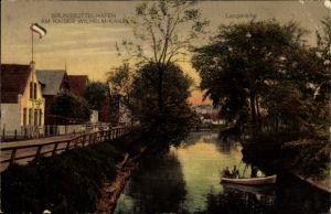 Ak Brunsbüttelhafen in Dithmarschen, Am Kaiser Wilhelm Kanal, Langereihe, Ruderboot