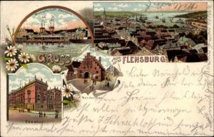 Litho Flensburg in Schleswig Holstein, Dampfschiffpavillon, Theater, Nordertor