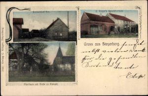Ak Steyerberg Niedersachsen, Stolzenauer Tor, C. Krügers Geschäftshaus, Pfarrhaus, Kirche zu Riessen