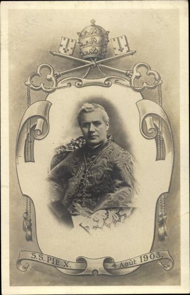 Passepartout Ak Papst Pius X., Giuseppe Melchiorre Sarto, 4. Aout 1903