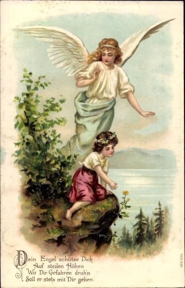 Präge Ak Schutzengel bewacht ein Kind am Abgrund