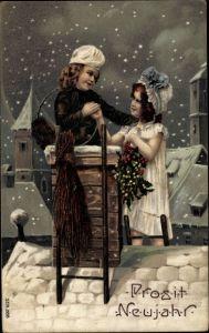 Präge Ak Glückwunsch Neujahr, Schornsteinfeger