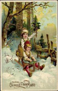 Ak Glückwunsch Neujahr, Schlittenfahrt, Kinder