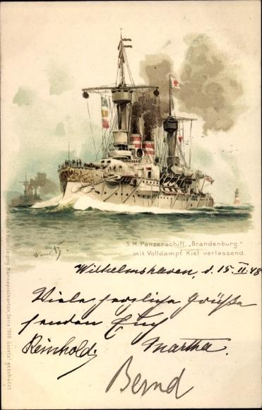 Künstler Litho Bohrdt, Hans, Deutsches Kriegsschiff, SMS Brandenburg, Panzerschiff