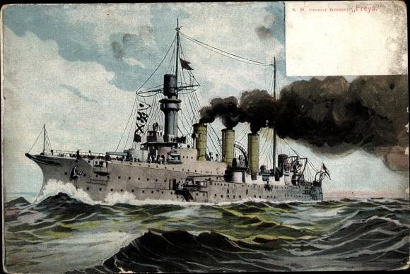 Ak Deutsches Kriegsschiff, SMS Freya, Großer Kreuzer, Kaiserliche Marine 0