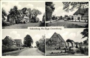 Ak Schönberg Schleswig Holstein, Geschäftshaus Heinrich Funk, Straßenpartie, Schule, Kriegerdenkmal