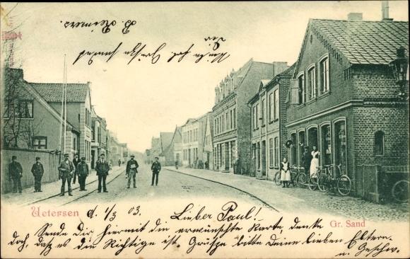 Ak Uetersen in Schleswig Holstein, Großer Sand, Straßenpartie
