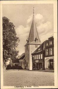Ak Lütjenburg in Schleswig Holstein, Kirche, Geschäft